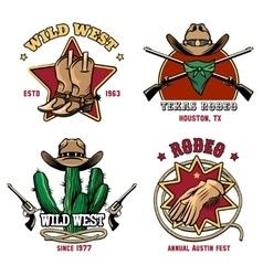 Retro cowboy rodeo emblem set vector image
