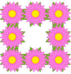 Square frame of pink flowers with green leaves vector