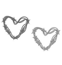 Steel heart in barbed wire vector