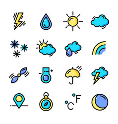 thin line weather icons set vector image vector image