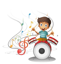 A young drummer smiling vector image