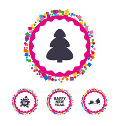 happy new year sign christmas trees vector image vector image
