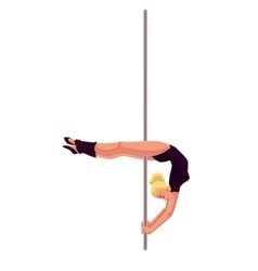 Young pole dance woman in black leotard doing vector image vector image