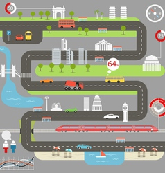 Abstract city map with infographic elements vector image