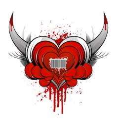 barcode heart concept with blood vector image vector image