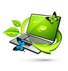 green laptop vector image
