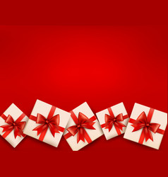 Red holiday background with gift boxes and red bow vector image vector image