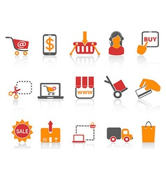 shopping online icons orange series vector image