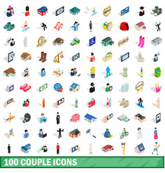 100 couple icons set isometric 3d style vector