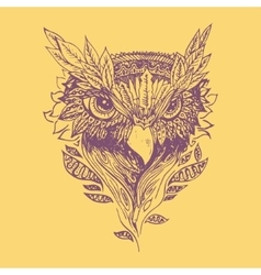 Abstract purple graphic owl print vector