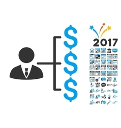 Banker Payments Icon With 2017 Year Bonus Symbols vector