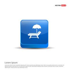Beach umbrella and bed icon - 3d blue button vector