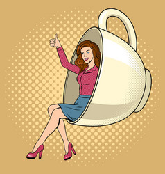beauty young woman in coffee cup pop art vector image