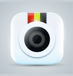 bright modern camera icon or button vector image