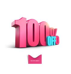 Bright pink voluminous 3d inscription 100 off vector
