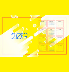 calendar 2019 colorful abstract background vector image