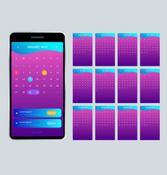 calendar 2019 for phone for 2019 vector image