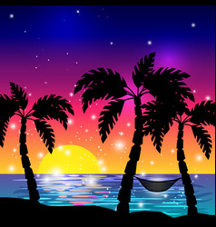 Caribbean view with palm trees vector