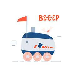 Cartoon self driving smart delivery robot vector