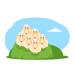 Cartoon sheep flock vector