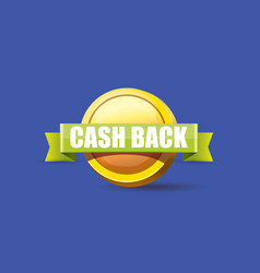 Cash back icon isolated on blue background vector