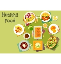 Cheese fish dishes icon for healthy food design vector image