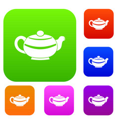 chinese teapot set color collection vector image