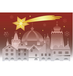 christmas historic town with bethlehem star vector image