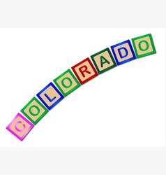 Colorado wooden block letters vector