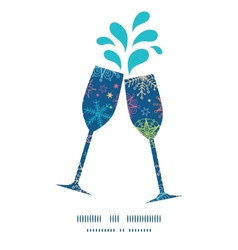 colorful doodle snowflakes toasting wine glasses vector image