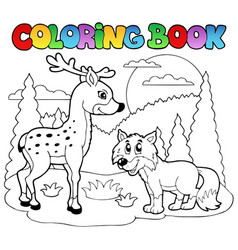 coloring book with happy animals 1 vector image