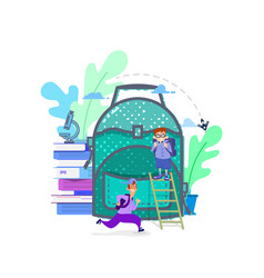 concept a huge school backpack and vector image