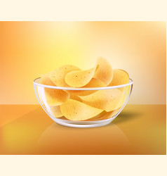 Crispy chips in glass bowl as salty snack to beer vector