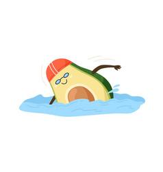 Cute and funny avocado half swimming happy comic vector