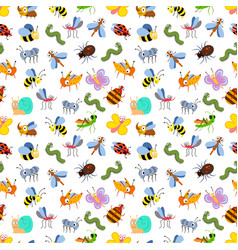 Cute cartoon insects seamless pattern for kids vector