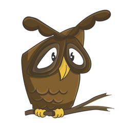 cute owl on the branch cartoon vector image