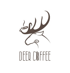 deer coffee negative space concept design template vector image