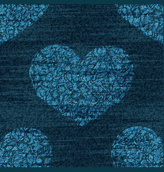 Denim romantic seamless pattern faded vector