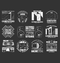 Devices and gadgets electronics icons vector