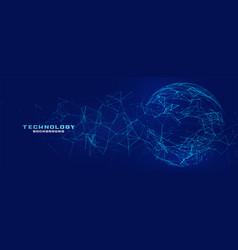 Digital network mesh sphere technology banner vector