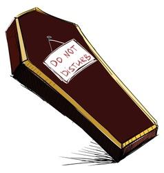 Do not disturb coffin isolated on white vector