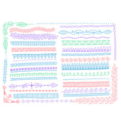 doodle sketch hand drawn line borders underline vector image