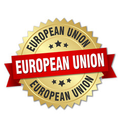 European union round golden badge with red ribbon vector