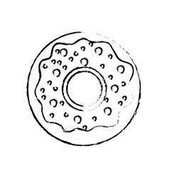 Figure delicious sweet donut bakery snack vector