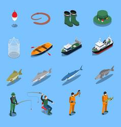 fishing isometric icons set vector image