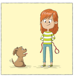 girl and dog want to walk vector image