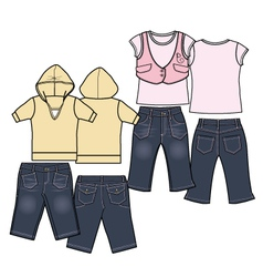 Girls fashion casual wear set vector