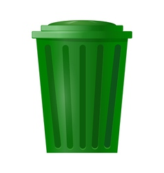 Green bin for garbage on white background vector