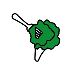 green broccoli on fork icon vector image