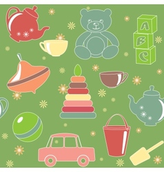 Green seamless pattern with toys vector